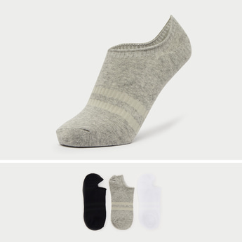 Pack of 3 - Solid No Show Socks with Stripe Detail