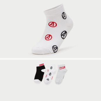 Marvel Print Ankle Length Socks with Cuffed Hem - Pack of 3