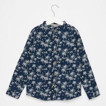 Printed Shirt with Long Sleeves and Mandarin Collar
