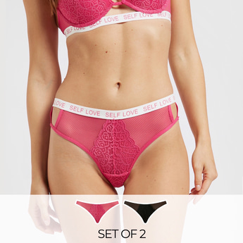 Pack of 2 - Lace Detail Brazilian Briefs with Slogan Print Waistband
