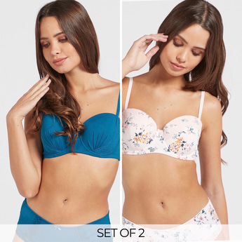 Set of 2 - Balconette Bra with Lace Detailing