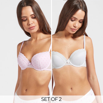 Pack of 2 - Lace Detail Padded Demi Bra with Hook and Eye Closure