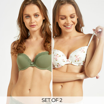 Pack of 2 - Assorted Padded Demi Bra with Lace Detail