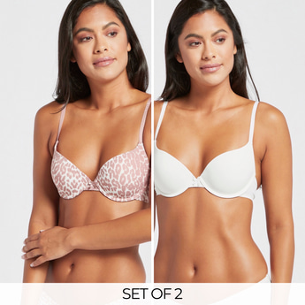 Pack of 2 - Bow Detail Padded Plunged Bra with Hook and Eye Closure
