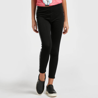 Ankle Length Side Tape Detail Leggings with Elasticised Waistband
