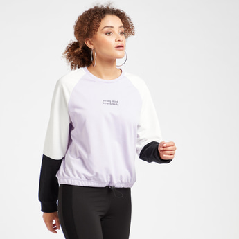 Colourblock Sweatshirt with Round Neck and Long Sleeves