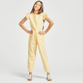 Striped Frilled Jumpsuit with Round Neck and Cap Sleeves