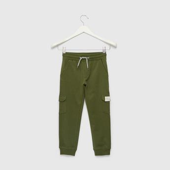 Full Length Solid Jog Pants with Pockets and Drawstring Closure