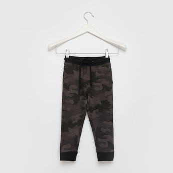 Camouflage Print Jog Pants with Pockets and Drawstring