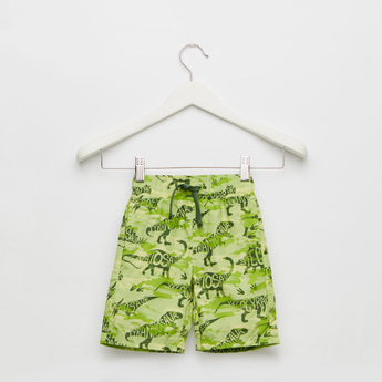 All-Over Dinosaur Print Swim Shorts with Drawstring