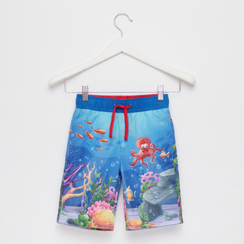 Graphic Print Swim Shorts with Pocket Detail and Drawstring Closure
