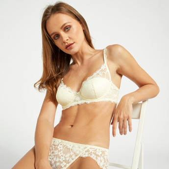 Lace Padded Balconette Bra with Hook and Eye Closure