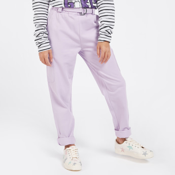 Solid Paperbag Waist Trouser with Pockets and Belt
