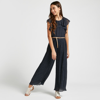 Printed Sleeveless Belted Jumpsuit with Round Neck and Pleat Detail