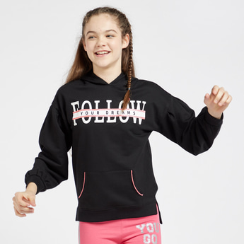 Printed Hoodie with Pockets and Long Sleeves