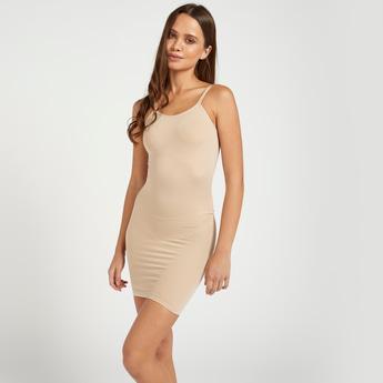 مشد فستان سادة بدون أكمام وياقة عميقة