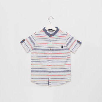Striped Henley Neck Shirt with Short Sleeves and Button Closure