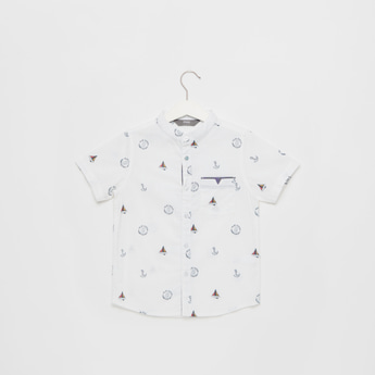 All-Over Printed Mandarin Neck Shirt with Short Sleeves