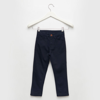 Solid Full-Length Pants with Pockets and Button Closure