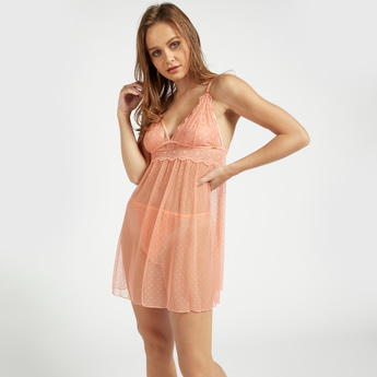 Lace Detail Babydoll Dress with V-neck and Adjustable Straps