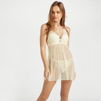 Spot Print Mesh Babydoll Dress with Thongs