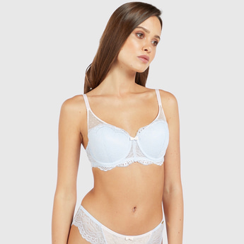 Lace Detail Padded Balconette Bra with Adjustable Straps