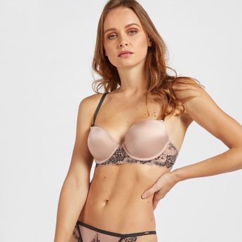 Solid Padded Plunge Bra with Lace Detail Fancy Racerback