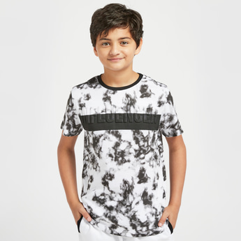 All-Over Print Embossed T-shirt with Crew Neck and Short Sleeves