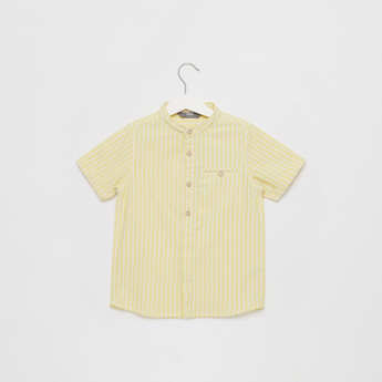 Striped Shirt with Mandarin Collar and Short Sleeves