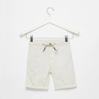 Striped Knee Length Shorts with Drawstring Closure and Pockets