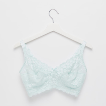 Lace Detail Non-Padded Bra with Adjustable Straps