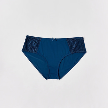 Solid High-Rise Briefs with Lace Detail and Elasticised Waistband