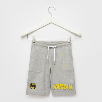 Batman Printed Shorts with Pocket Detail and Drawstring Closure