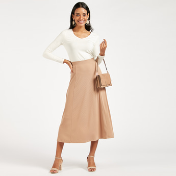 Ribbed Midi A-line Skirt with Elasticised Waistband