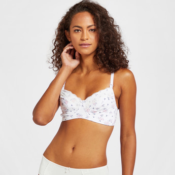 Floral Print Non-Wired Maternity Bra with Hook and Eye Closure