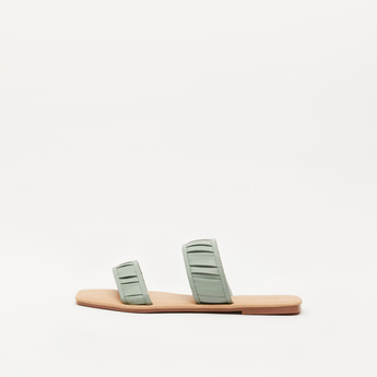 Textured Dual Strap Slip-On Flat Sandals