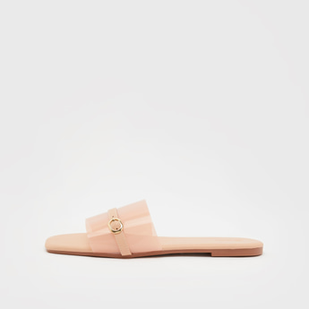 Transparent Strap Slip-On Slides with Buckle Accent