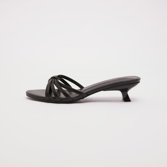 Strappy Slip On Sandals with Kitten Heels