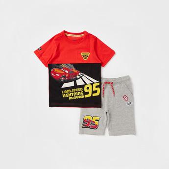 Lightning McQueen Print Round Neck T-shirt and Shorts Set