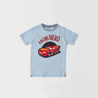 Cars Print Round Neck T-shirt with Short Sleeves