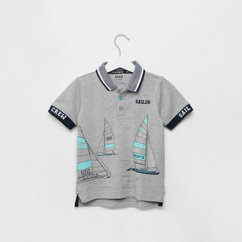Printed Polo T-shirt with Short Sleeves and Button Closure