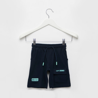 Text Print Knit Shorts with Patch Pocket and Drawstring Closure