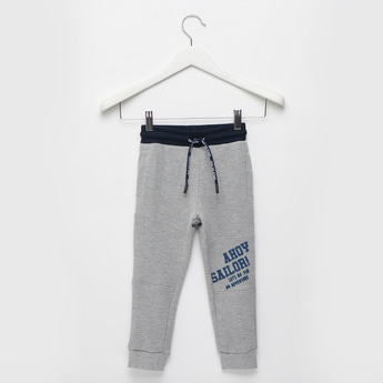 Text Print Knit Jog Pants with Pocket Detail and Drawstring Closure