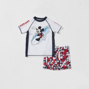 Mickey Mouse Print 2-Piece Swimwear Set
