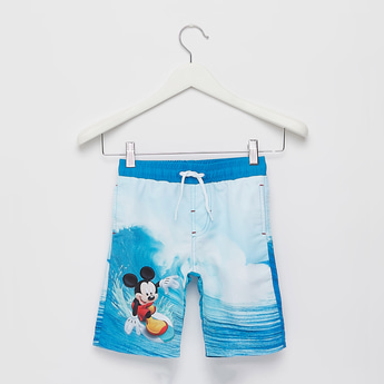 All-Over Mickey Mouse Print Swim Shorts with Drawstring Closure