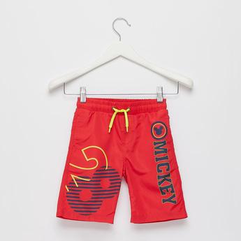 Mickey Mouse Print Swim Shorts with Drawstring Closure