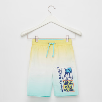 Mickey and Friends Print Ombre Dyed Swim Shorts with Elasticised Waist