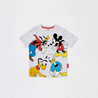 Mickey Mouse & Friends Print Round Neck T-shirt with Short Sleeves