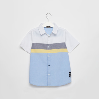 Colourblock Shirt with Short Sleeves