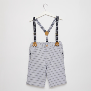 Striped Shorts with Suspenders and Pocket Detail